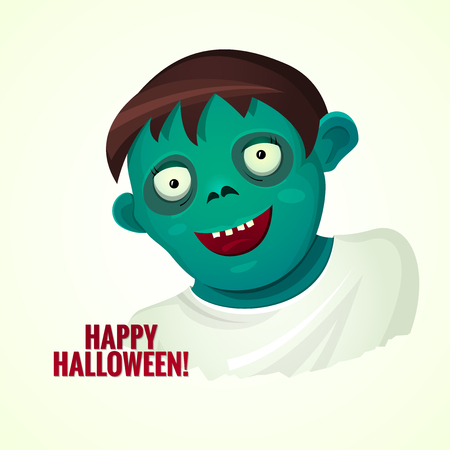 undead: Cute green smiling zombie man, poster for halloween party, vector illustration, humorous greeting card to a friend