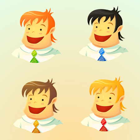 color hair: Set of a smiling young business men with different color hair and ties, the user avatars in cartoon style, character design, vector illustration isolated on background Illustration