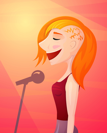 Beautiful smiling girl singer singing into a microphone on a stage in the spotlight, isolated vector illustration in cartoon style