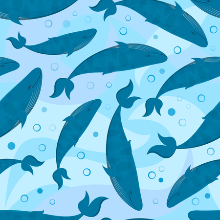 great depression: Seamless pattern with blue big whales, pacified vector illustration, marine background