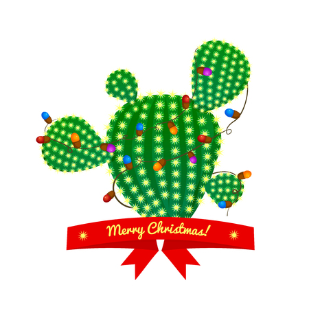prickly pear: Christmas green prickly pear cactus tree with four spikes decorated with garland and red ribbon with congratulatory messages. bright juicy succulent, vector illustration in cartoon style