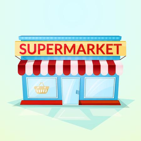 Fachada tienda de comestibles, hermosa casa luminosa de dibujos animados en el ambiente de la calle, ilustración vectorial aislado en el fondo