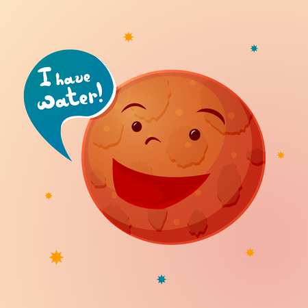Planet Mars with cartoonish face appeals to humans with a message about the availability of water on the red planet, vector illustration