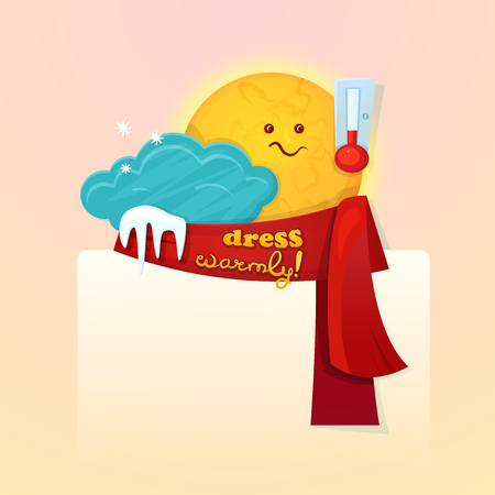 warmer: Concept design of the seasonal weather changes, sun cute character upset temperature reduction and encourages dress warmer, vector illustration with space for text