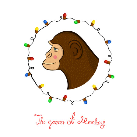 year profile: Bright colorful holiday card with a new year with a monkey cartoon character face in profile in the round frame, Christmas lights and calligraphy inscription congratulation in doodle style