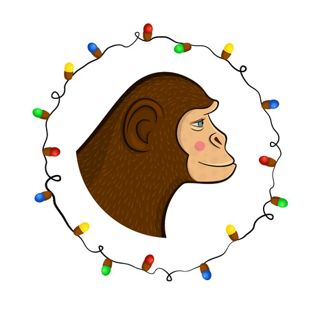 year profile: Bright colorful holiday card with a new year with a monkey cartoon character face in profile in the round frame, Christmas Illustration