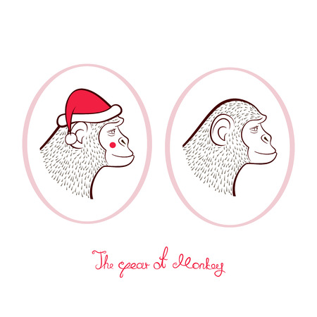 year profile: Holiday set for New year, pencil drawing two monkeys in cap of Santa Claus and without, outline cartoon character faces in profile in oval frames, vector illustration