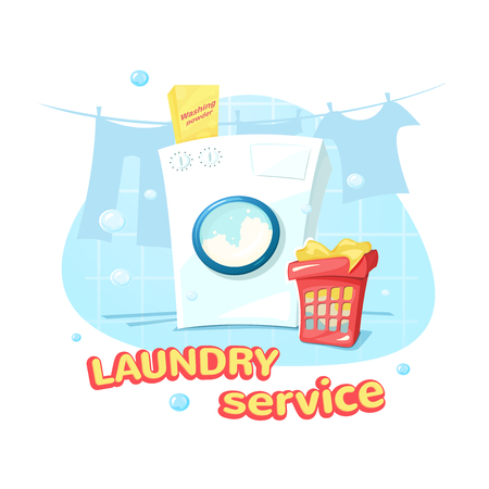 laundry care symbol: Laundry service concept design, a washing machine and laundry basket, vector illustration Stock Photo