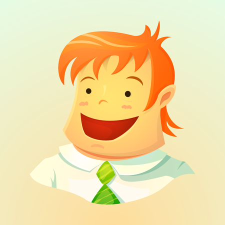 red hair: Portrait of a smiling young business man with red hair in a tie, the user avatar in cartoon style, character design, vector illustration isolated on background