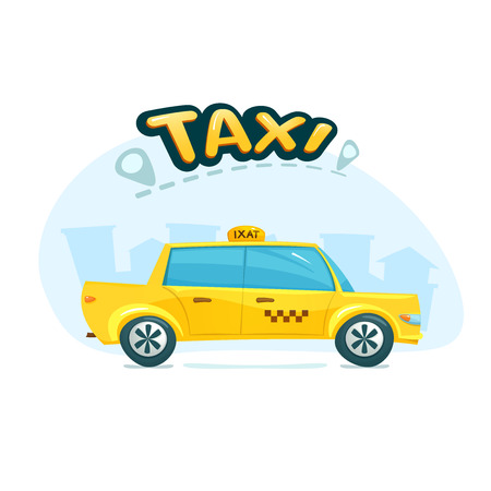 yellow taxi: The yellow taxi with cityscape backdrop Illustration