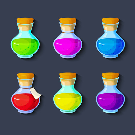 antidote: Set of elixirs, icon of the game equipment, bottle with multi-colored liquid, vector illustration Illustration