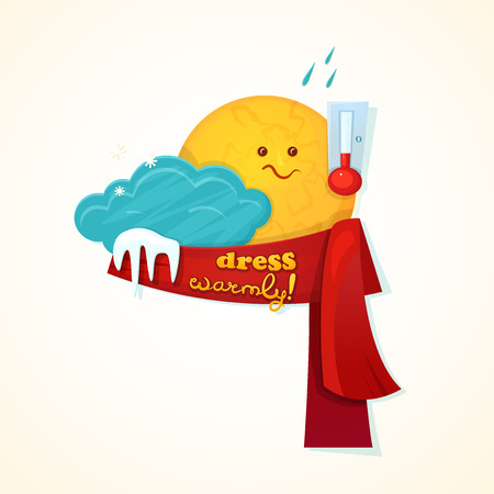 weather cartoon: Concept design of the seasonal weather changes, sun cute character upset temperature reduction and encourages dress warmer, vector illustration
