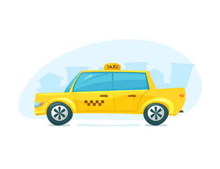 yellow taxi: The yellow taxi with cityscape backdrop, urban transport, vector illustration