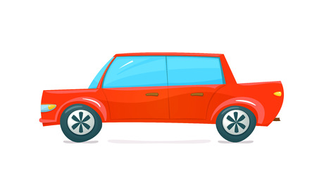 car side view: Red car side view in cartoon style, vector illustration