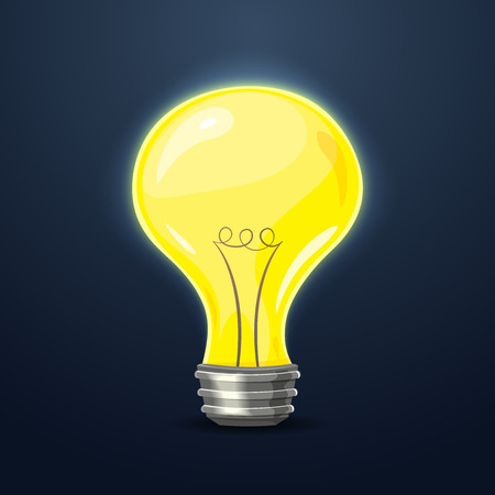 darkness: Yellow light in the darkness, the symbol of the idea, vector illustration