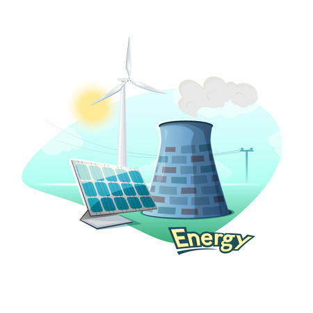 sources: Different types of energy sources concept design, vector illustration