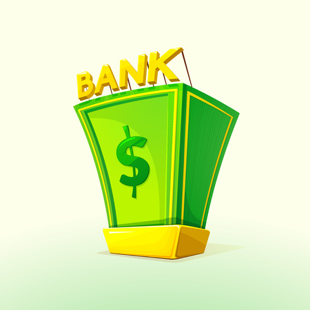 gold bullion: Money Bank concept design with a pile of money and gold bullion symbols of wealth and prosperity, vector illustration