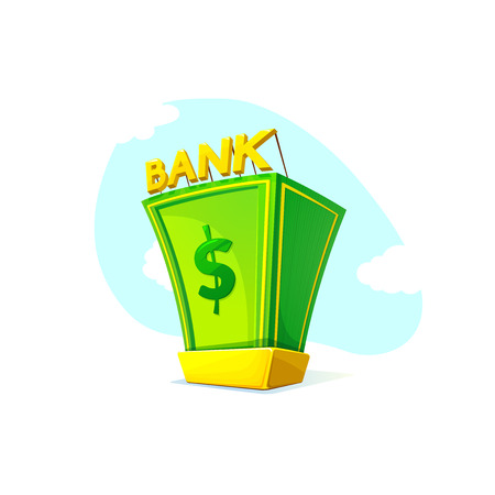 gold bullion: Money Bank concept design with a pile of money and gold bullion symbols of wealth and prosperity on landscape background, vector illustration Illustration