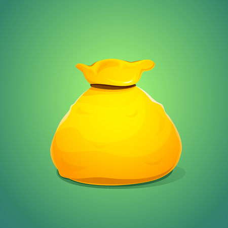online game: A large bag of gold color isolated on green background, icon of online game, vector illustration