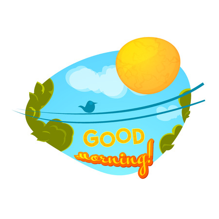 tweeting: Good morning concept design, vector illustration with sun and tweeting bird Illustration