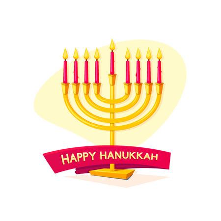 hanukka: Happy Hanukkah, concept design with menorah and ribbon, vector illustration