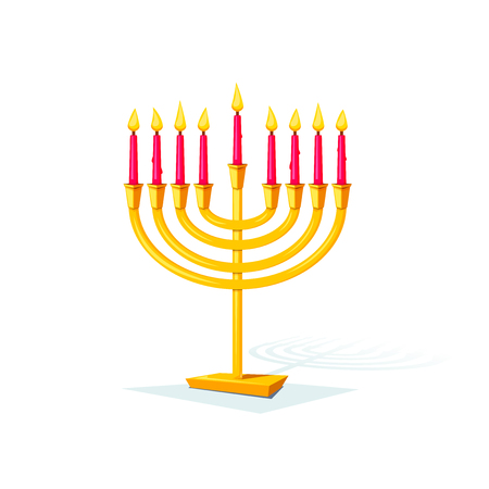 chanuka: Happy Hanukkah, gold colors menorah isolated of background, vector illustration Illustration