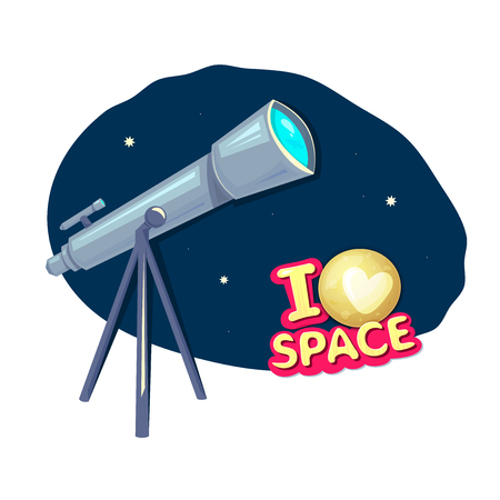 astronomer: I love space, concept design with telescope, astronomer equipment, vector illustration