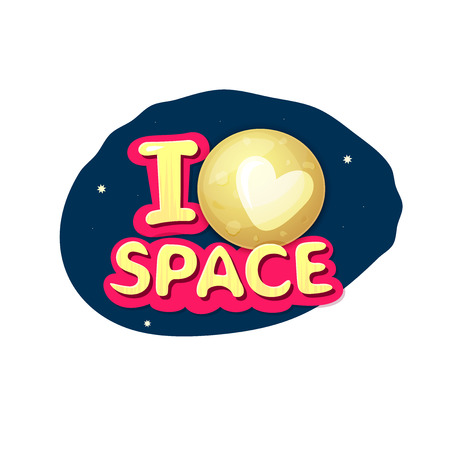 pluto: I love space, concept design with Pluto on night sky, vector illustration Illustration