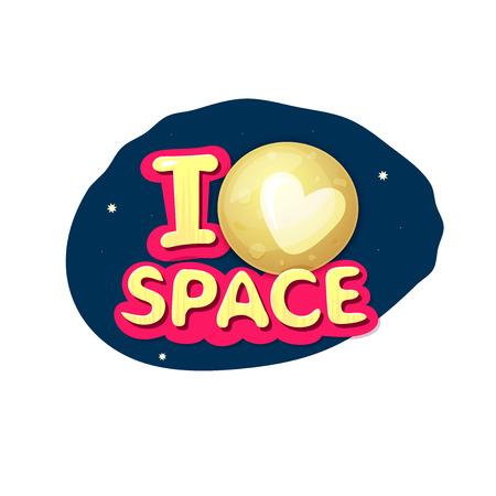 stiker: I love space, concept design with Pluto on night sky, vector illustration Illustration