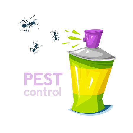 pest control equipment: Pest control, concept design, the chemical agent in aerosol sprays liquid on parasites insects, vector illustration