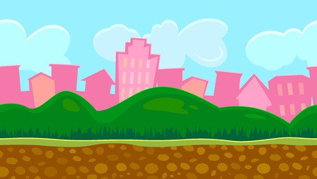 country road: Seamless background for a simple game, day scene urban landscape with hills, editable vector illustration
