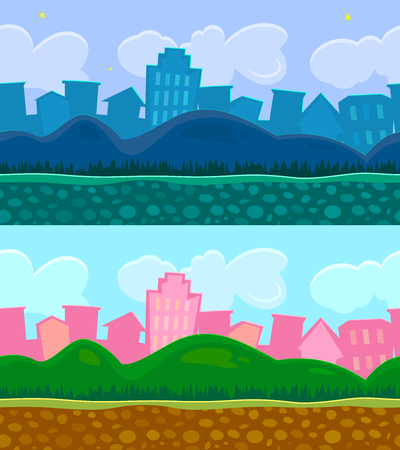 Two seamless backgrounds for a simple game, day and night scene urban landscape with hills, editable vector illustration Illustration