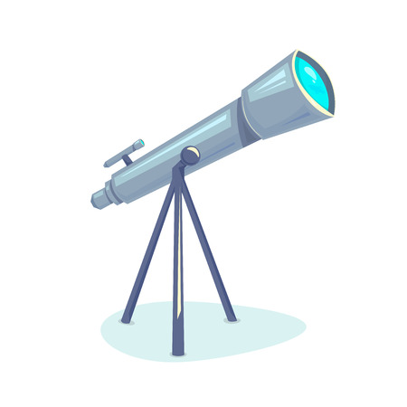 observation: Telescope, astronomers equipment for Earth observation space, vector illustration