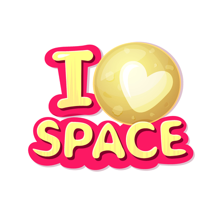 I love space , concept design with Pluto, vector illustration Illustration