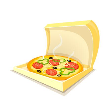 fragrant: Hot fragrant pizza in open box, fast food delivery , vector illustration Illustration