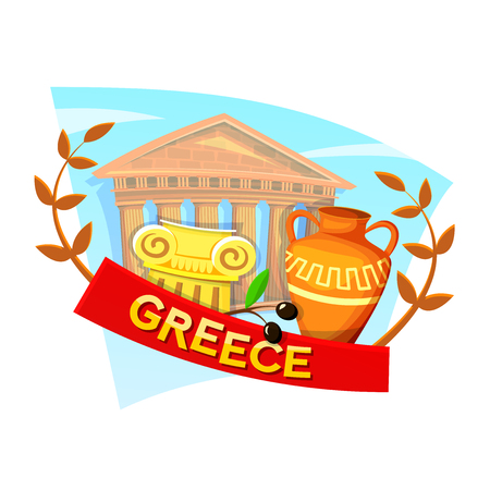 Greece concept design with national attributes, vector illustration Illustration