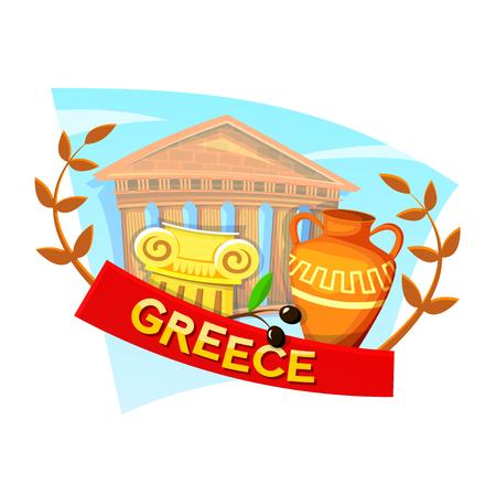 Greece concept design with national attributes, vector illustration Illustration