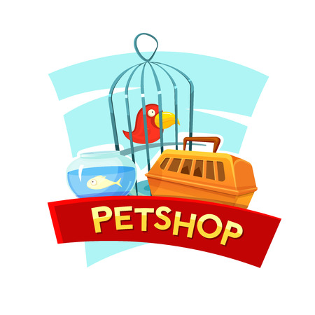 petshop: Petshop concept design with aquarium fish, cage birds and container carrying animals, vector illustration