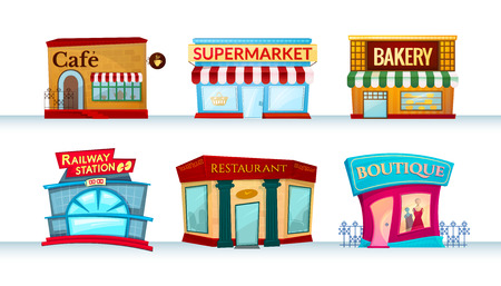 Different city facilities icons set, shops, canteens, public places, vector illustration