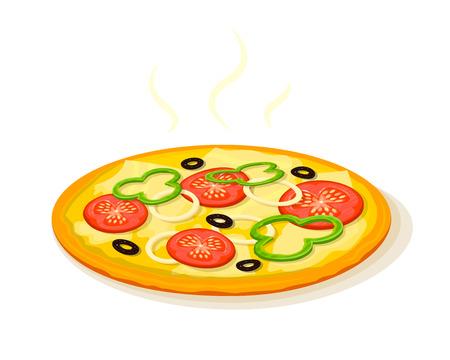 fragrant: Hot fragrant pizza, fast food delivery , vector illustration