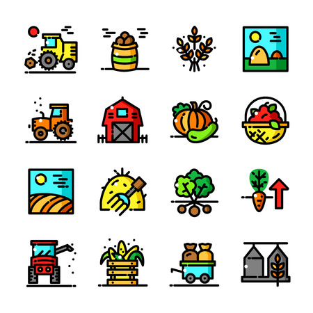 agricultural application tractor: Thin line Harvest icons set, Agricultural and Farm Work outline vector illustration Illustration
