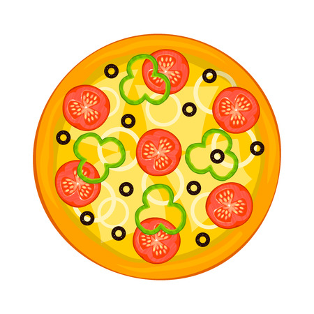 fragrant: Hot fragrant pizza view from above, fast food delivery , vector illustration Illustration