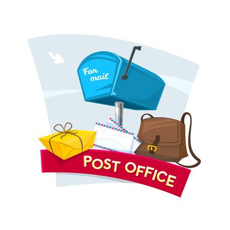 correspondencia: diseño de concepto de oficina de correos, ilustración vectorial con buzones, cartas, bolsa de cartero y el paquete