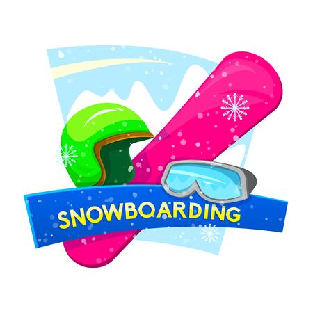 Snowboarding concept design with attributes snowboarder, vector illustration Illustration