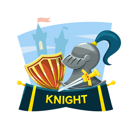 chivalry: Chivalry concept design with the attributes of the knight and the castle in the background, vector illustration