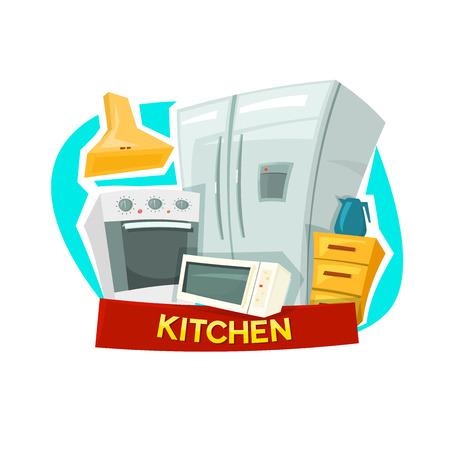 stiker: Kitchen concept design with kitchen appliances, vector illustration