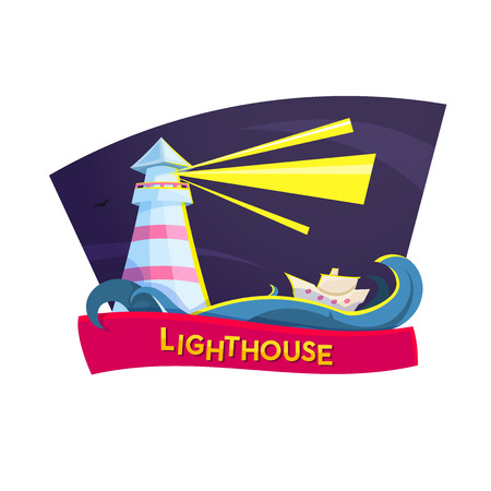 orientation: Orientation ships concept design, vector illustration with lighthouse, boat, waves and red ribbon