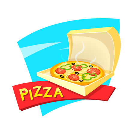 Pizza concept design, fast food delivery , vector illustration