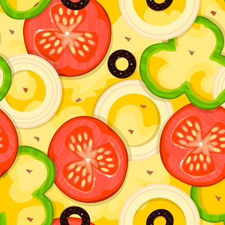 pizzeria label design: Hot fragrant pizza, fast food delivery bissnes background, vector seamless pattern Illustration