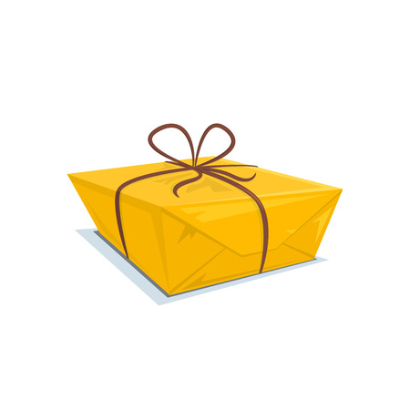 tied: Cardboard box tied with a ribbon, parcel , surprise vector illustration Illustration